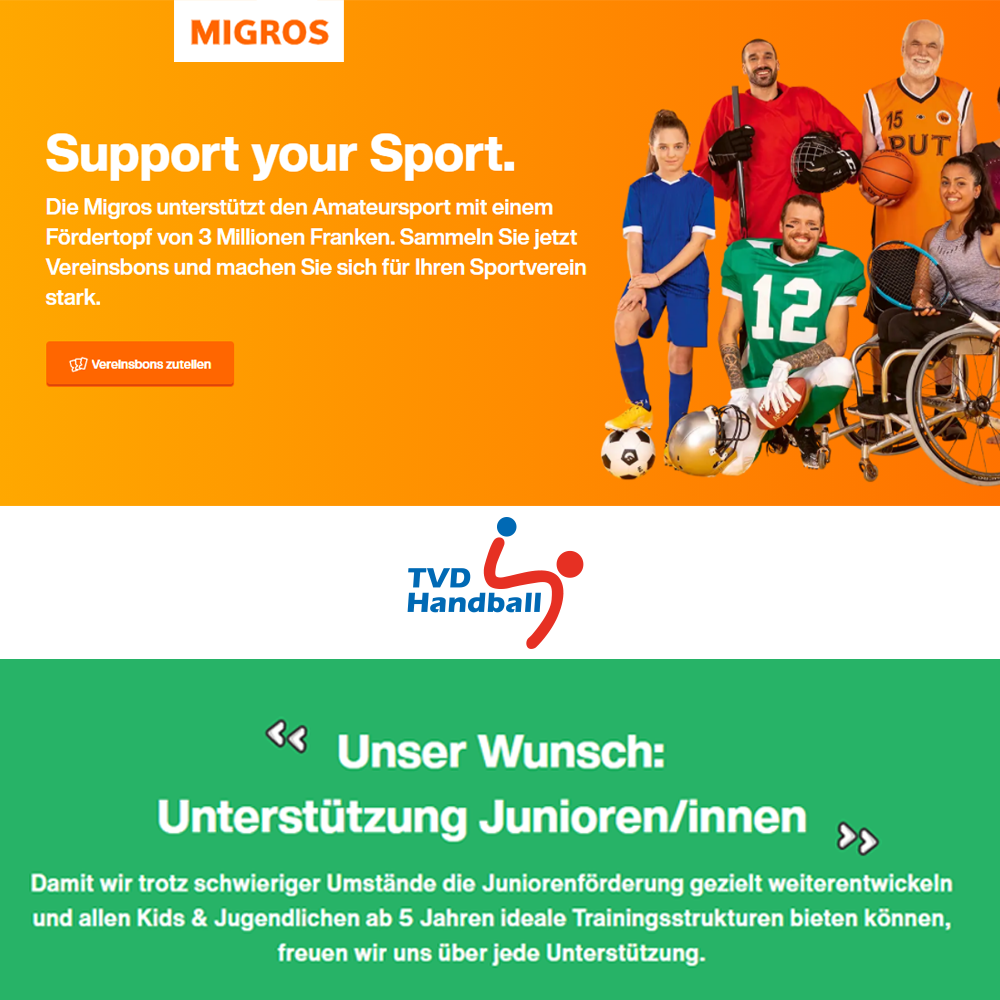 "Unterstütze den TVD Handball bei ""Support your Sport"""